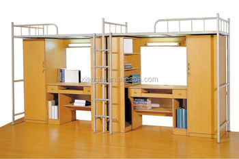 University Dormitory Double Bunk Bed Metal Bunk Bed With Study Desk
