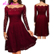 NO MOQ wine red lace long sleeves sexy japanese women western style prom dresses