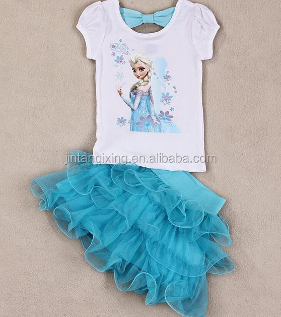 2017 new Fashion children clothes sets frozen t-shirt top and short for girls clothing suits