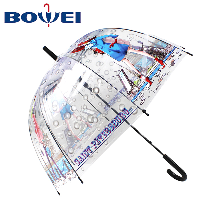 OEM Manufacturer Transparent  Three Folding  Umbrella with Flower Printing