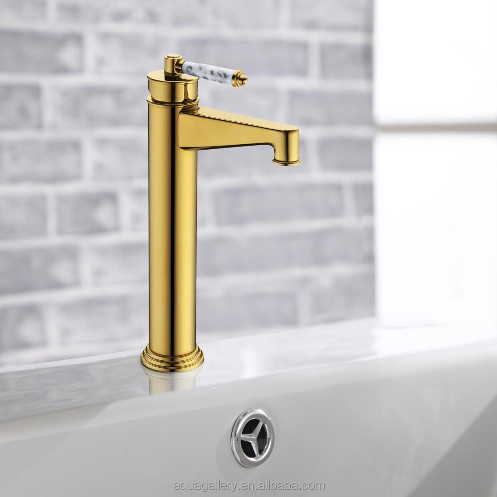 Deck Montiert Goldene Finish Rustikalen Messing Bad Waschtisch Armatur