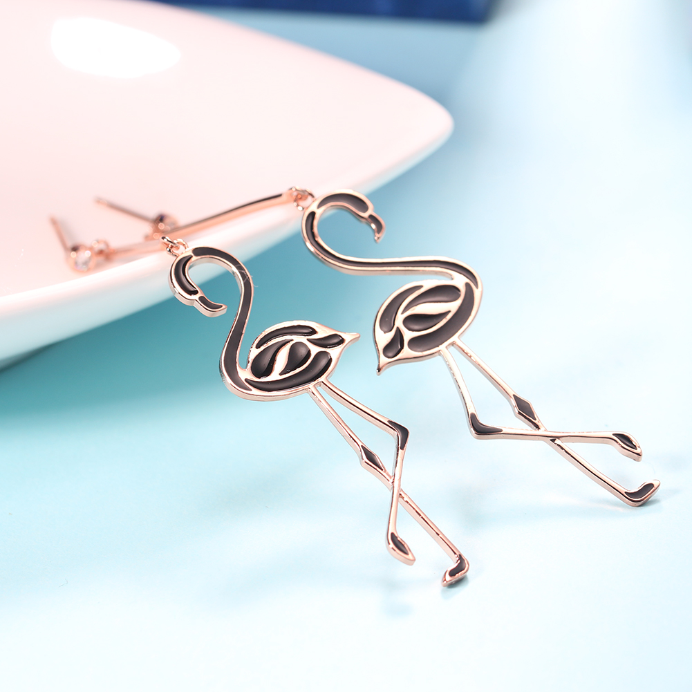 New Product 2019 Metal Women Jewelry Pink Flamingo Designer Earrings