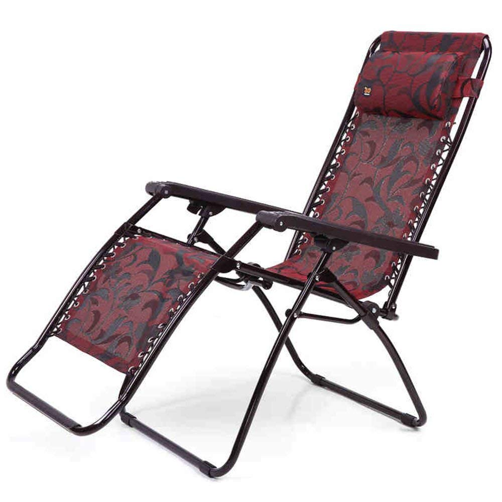 Rocking Chairs MEIDUO Folding Chair Zero Gravity Chaise Lounger Chair Oversized Patio Recliner for Outdoor Support 210kg Wine Red (Color : A)