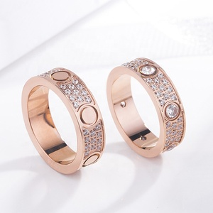 Fashion Jewelry 316L Stainless Steel 18K gold plated Gold screw love Ring Fine Jewelry