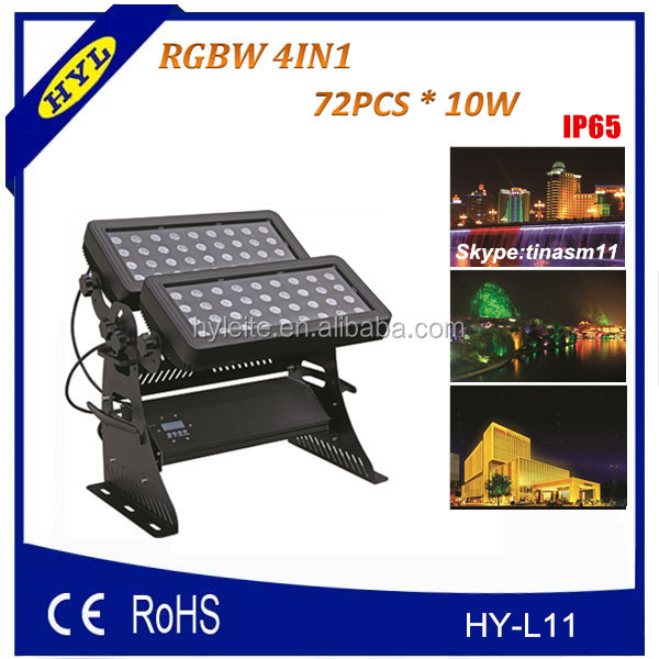 led projector IP65 72pcs*10w rgbw 4in1 led wall washer, spot led