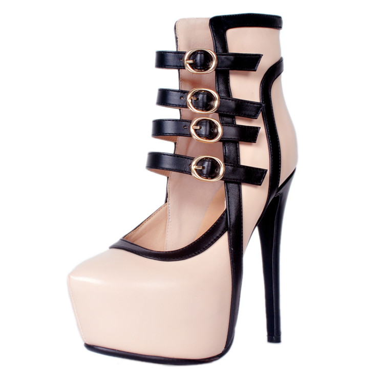 New Design Platform High <strong>Heels</strong> with Metal Button Woman Shoes