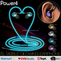 Power4 long wired colorful high quality headphones with soft el cable