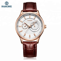 OEM leather strap Japan quartz movement watch for men