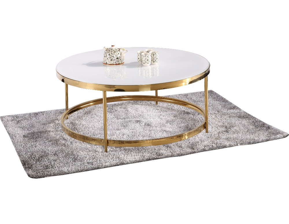 Stainless Steel Frame Coffee Table Teapoy Round Black White Gloss Pure Gl Top Metal Legs Tables Design