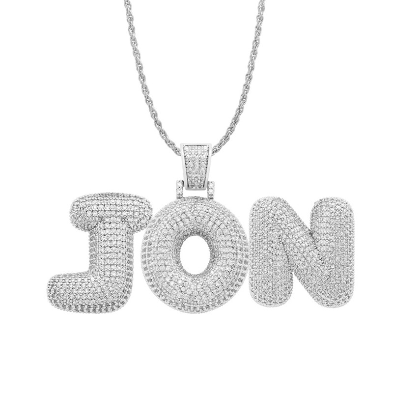 Custom Name Iced Out Bubble Letters Chain Pendants Necklaces Men's Charms Zircon Hiphop Jewelry