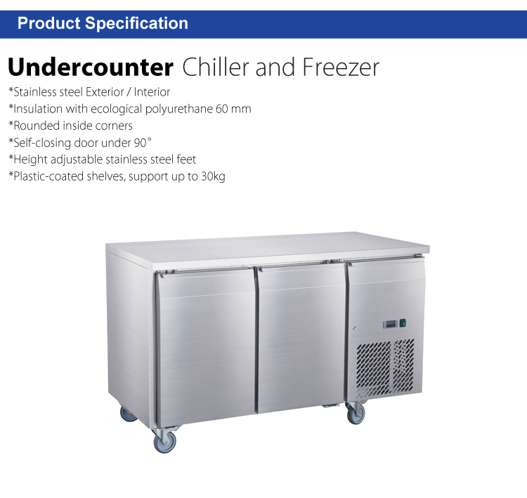 2 Doors Fancooling Undercounter Refrigerator Stable Operation Commercial Kitchen Freezing Equipment