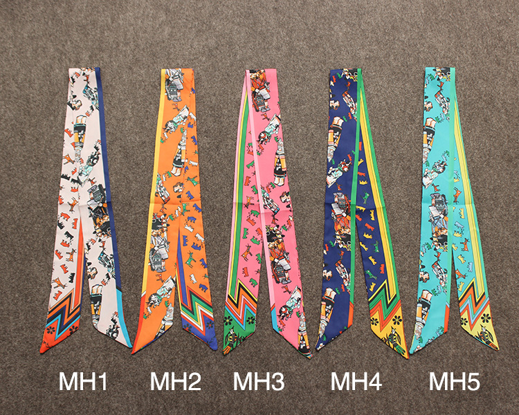 Handmade Band twilly ribbon handle tie decorative silk scarf wholesale MH1-MH5