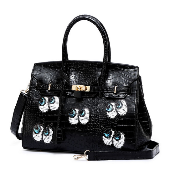 Fashion <strong>Designers</strong> Cute Big Eyes Sequins Girls Large Capacity Leather Shoulder Bag Top Quality Luxury Stylish Unique Handbag