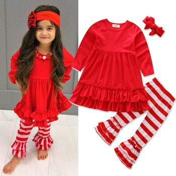 latest winter kids girls smocked ruffle red striped pants clothing sets children boutique wholesale