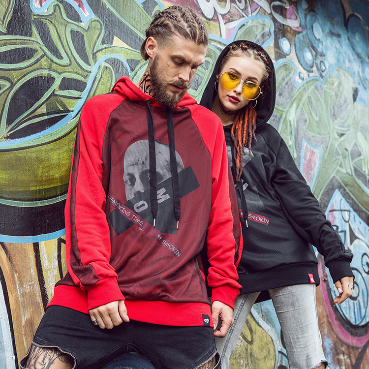 Couple Mesh Patchwork Hoodies Printed Swag Pullover Sweatshirts