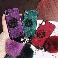 4.7/5.5 inches waterproof pc tpu epoxy fur ball Phone Case for iPhone 6/7/8/X/Xs