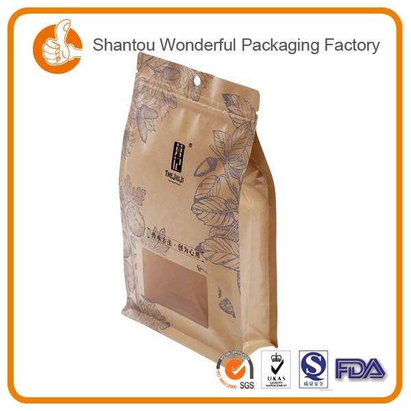 coffee packing bread pouch zipper lock paper paper bags kraft with whindw