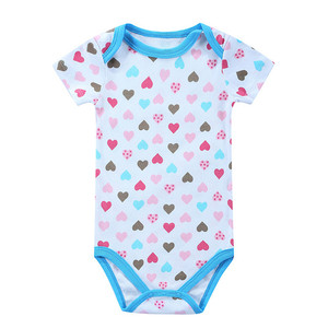 Bulk Wholesale Summer Unisex Baby Romper Clothes 100% Cotton Printed Infant Clothing