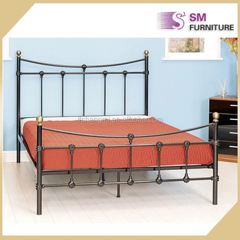 Elegant High Metal Back Design Bed Frame For Double Size