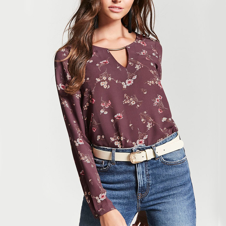 New Design Latest Formal Skirt Blouse Patterns For Ladies Summer Fashion Women Long Sleeve Floral Hollow Out Blouse Buy Latest Formal Skirt Blouse Patterns For Ladies Hollow Out Blouse Long Sleeve Chiffon Hollow