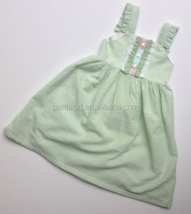 Korean Style New Fashion Big Baby Dress Green Seersucker Frocks And Dress