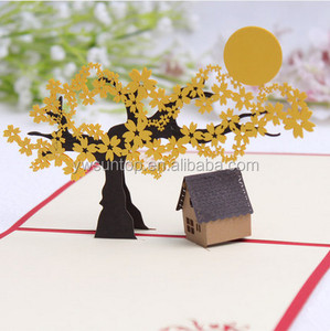 Creative 100% handmade cherry blossom trees 3d paper cards for christmas