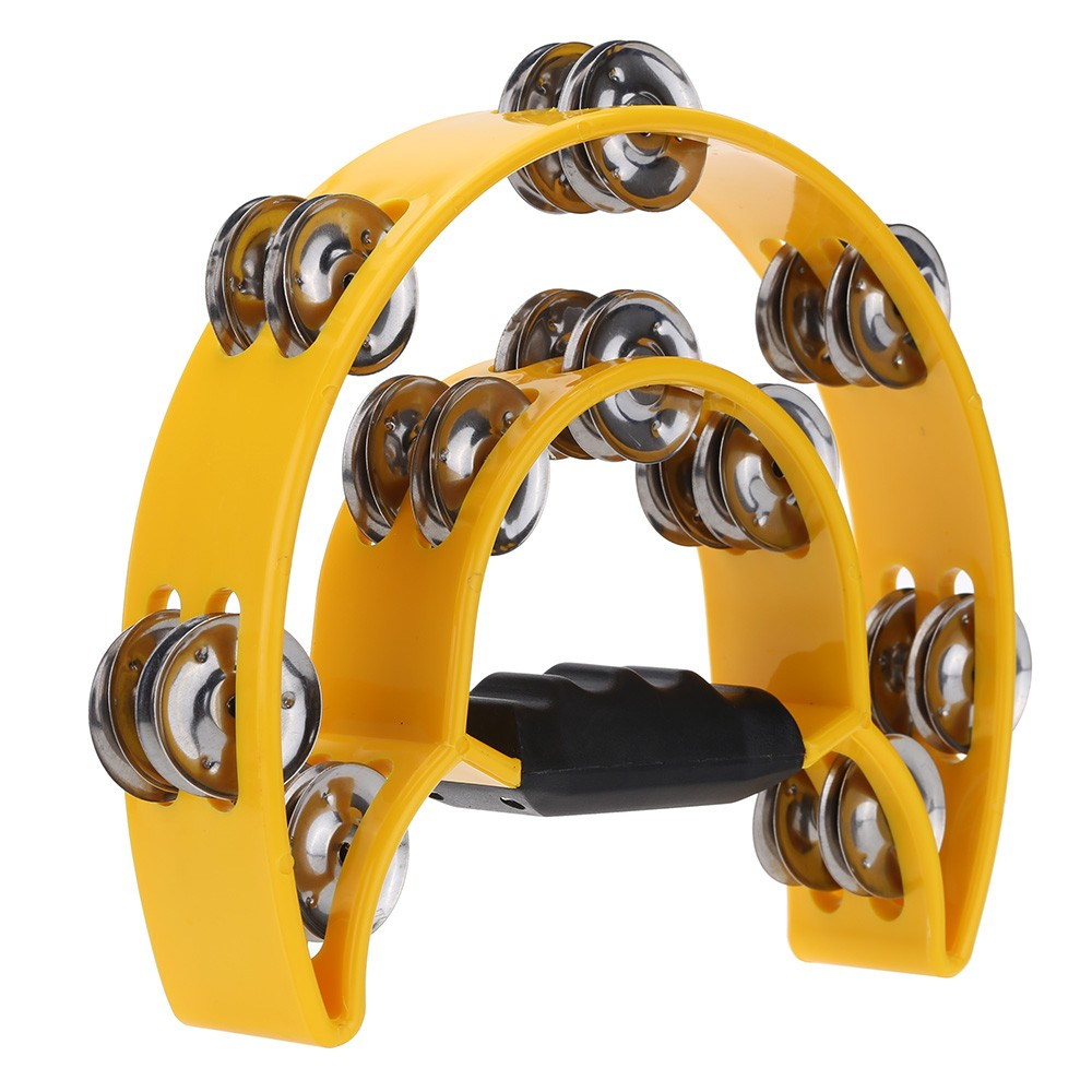 Handheld Tambourine Handbell Timbrel Percussion Musical Toy Half Moon Double Rows 10 Sets Metal Jingles for Party Kids Games (Ra