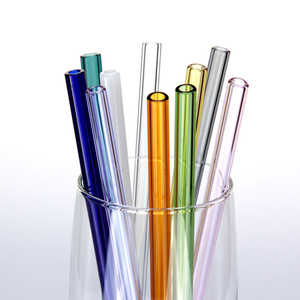 Fashioned Color Glass Straws Borosilicate Glass Straight Bent Reusable Glass Drinking Straws