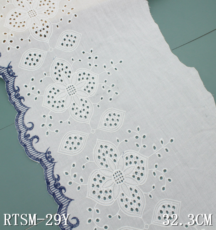 Broderie anglaise lace fabric white 100% cotton lace