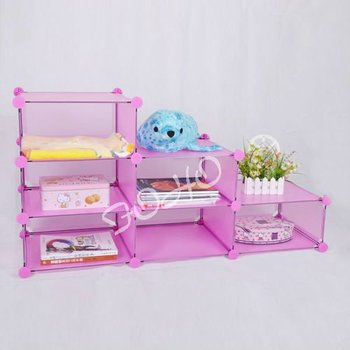 6 Cubes Kids Living Room Cube Storage Organizer With Cute Pink Color ...