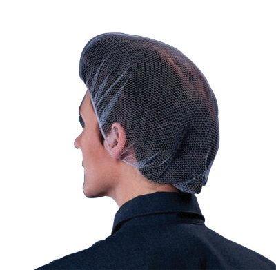 "Shield Safety 200 Pieces Black Medical Food Service Nylon Hair Net Cap 24/"""