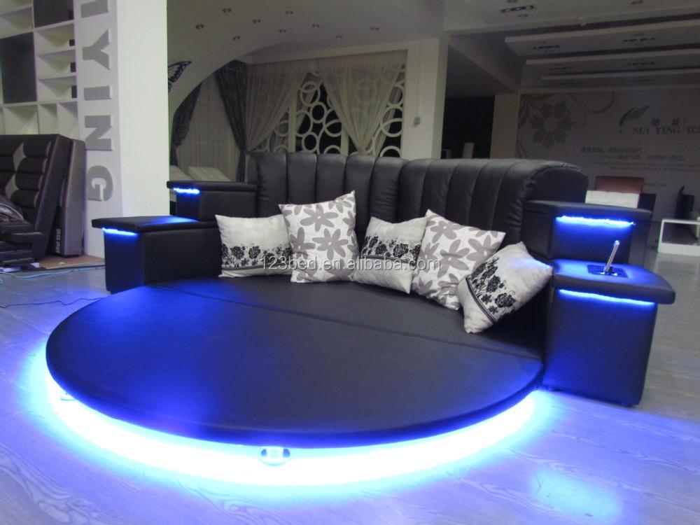 cy006 hei er verkauf neueste design moderne runde led musik bett bett produkt id 60120988830. Black Bedroom Furniture Sets. Home Design Ideas