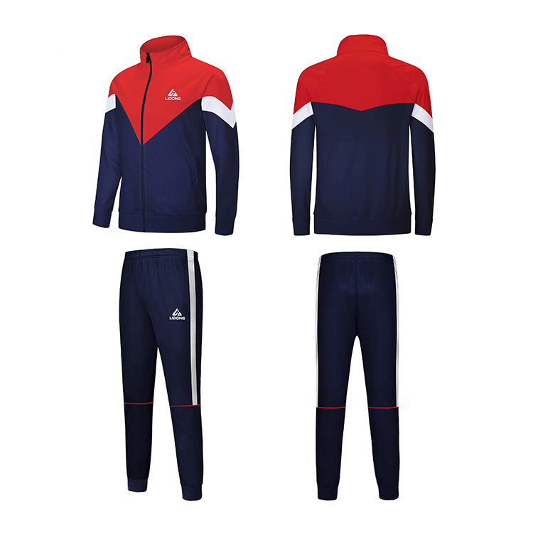 New style muscle fit black and blue gym clothes stripe training jogging polyester tracksuit