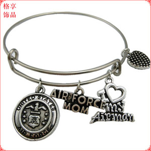 United States Marine Mom Charm Bangle Stainless Steel Metal Expandable Wire military Bangle Freedom Is Not Free Bracelet