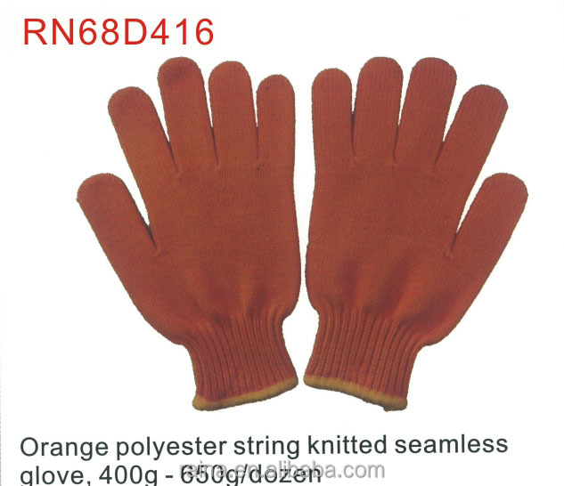 Hight quality natural color PVC dotted 100% polyester gloves