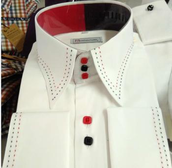 1418a16878 Blanco con 2 colores dentro collar francés puño de la camisa para hombre  vestido de camisa