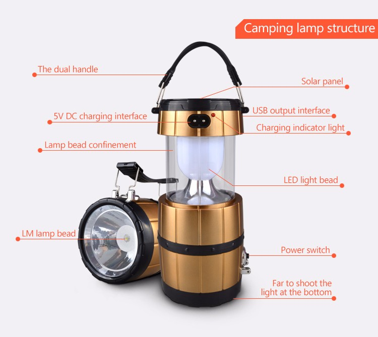 Outdoor Lighting Camping Solar Energy Rechargeable Camping Lantern ...