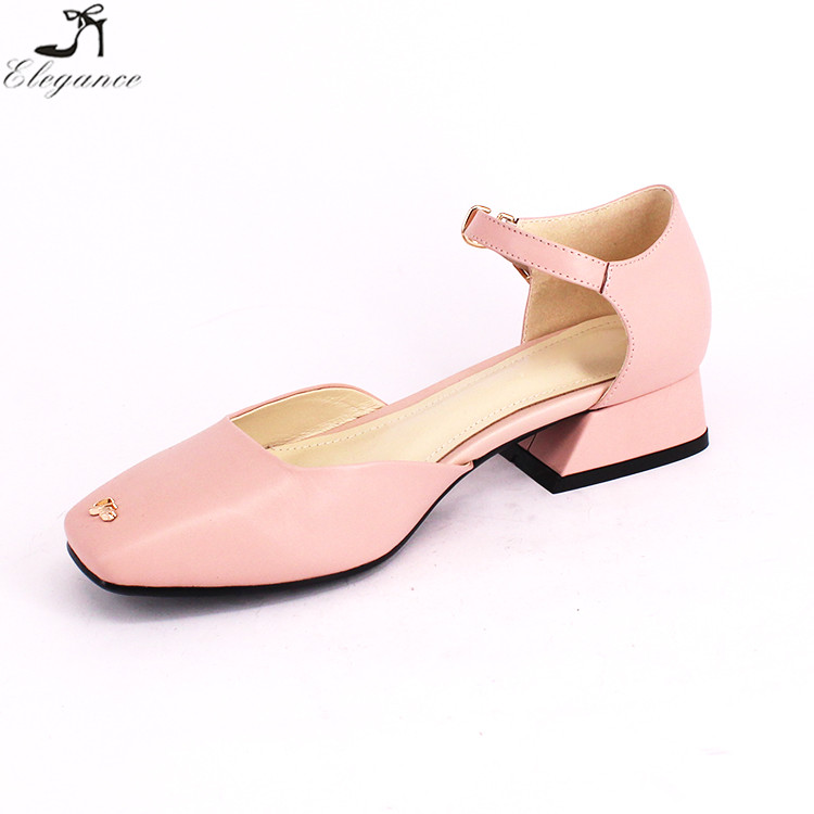 China Custom Logo Ladies Pink Leather 2017 Fancy Close Square Toe Hollow Flat Block Heels Ankle Buckle Women Slide Sandals Shoes