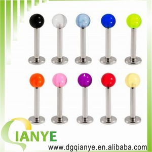 wholsale stainless steel hot sale labret ring piercing UV Ball Lip Labret Ring