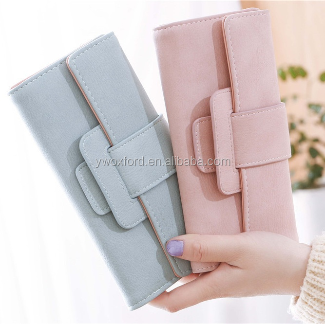 Korean Style Dusty Color Women's Foldable Wallet With Square Buckle More Pocket and Function Purse