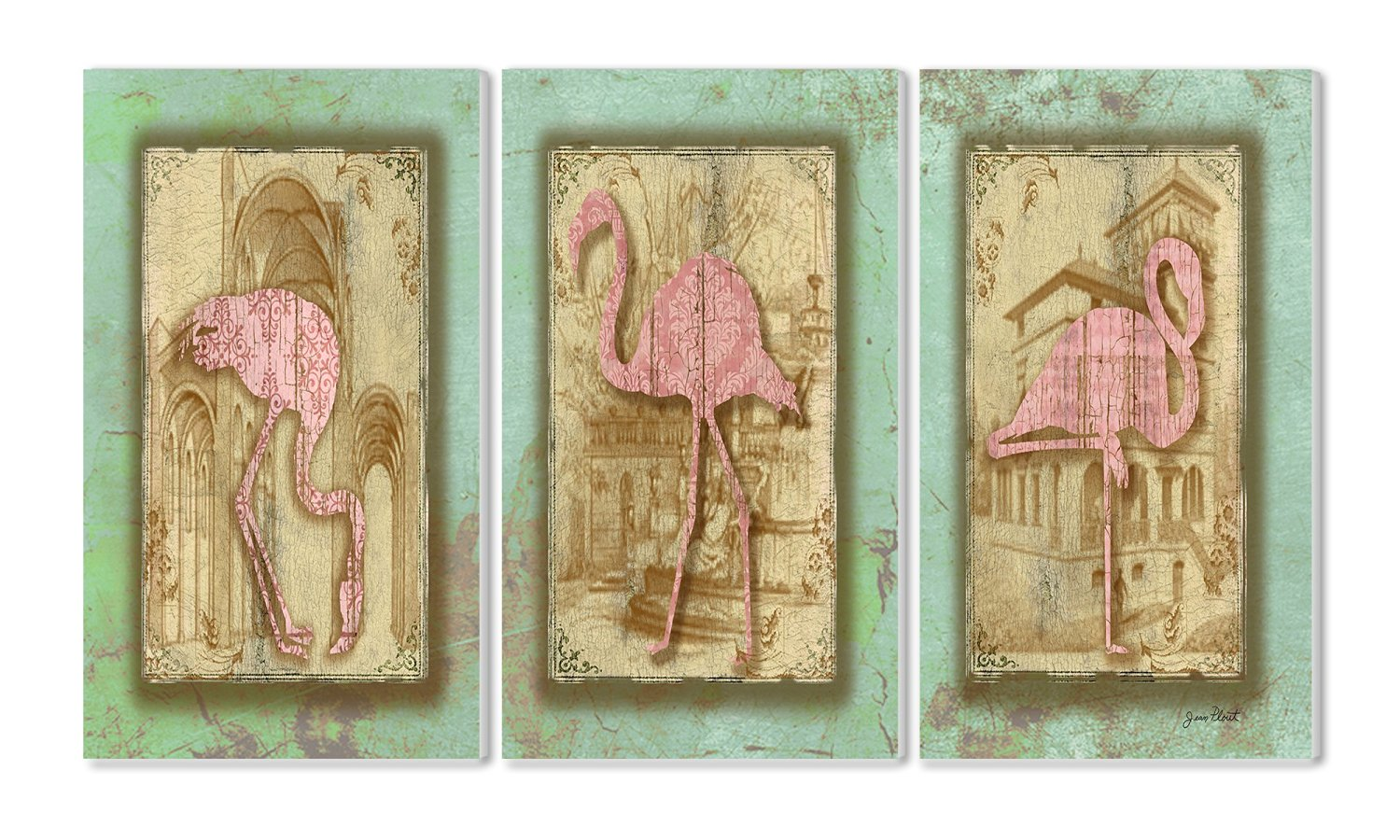 The Stupell Home Decor Collection Vintage Pink Flamingo 3-Piece Triptych Wall Plaque Set