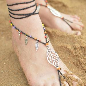 Simple Free Design Beach Alloy Leaf HandmadeBead Long String Ladies Anklets
