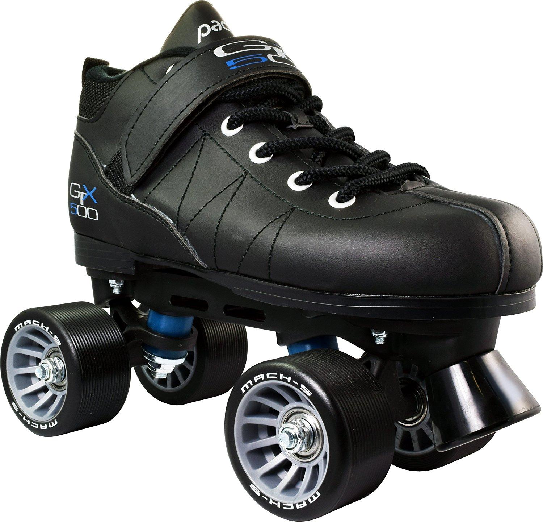 Pacer GTX-500 Mach-5 Black Quad Roller Derby Speed Skates Sz 12