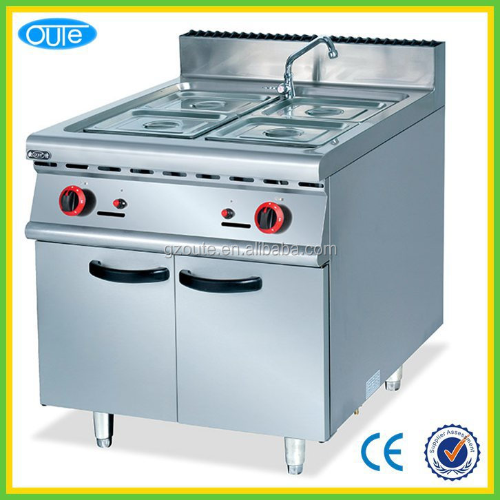 OUTE Commerical Stainless seel gas hot food warmer bain marie with cabinet for buffet and restaurant