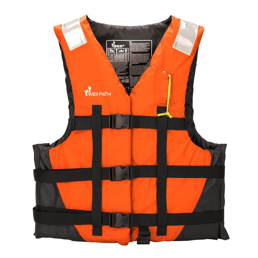 Life Jacket Vest, Water Sports Life Vest Swim Vest with Reflective Stripe and Emergency Whistle for Safety Boating, Sailing, Swimming, Fishing