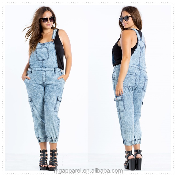 China Plus Size Women Overall Cargo-style Pants Blue Acid Wash Denim  Overalls - Buy Denim Overalls,Women Denim Overalls,Plus Size Women Clothing  ...