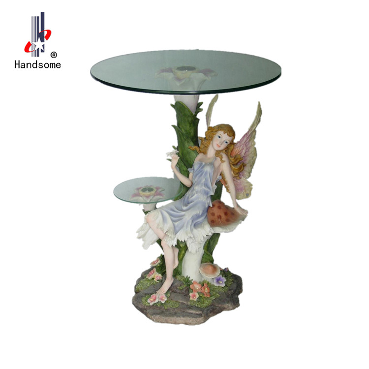 Resin standing glass round table decorative coffee table