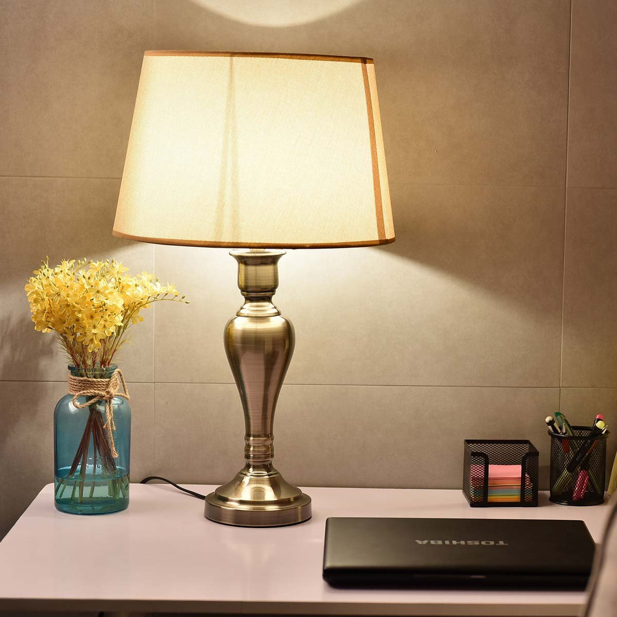 Safstar Bedside Lamp Nightstand Table Lamp with Flaxen Fabric Shade and Antique Brass Base for Bedroom, Dresser, Living Room, Kids Room, College Dorm, Coffee Table, Bookcase