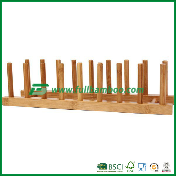 Large capacity bamboo plate holder for kitchen & restaurant