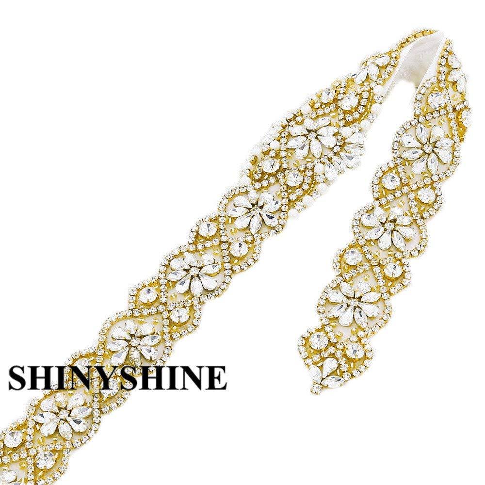 ShinyShine Wedding Belt Applique Bridal Belt, Sash Belt Applique, Gold Crystal Rhinestone Applique RA080